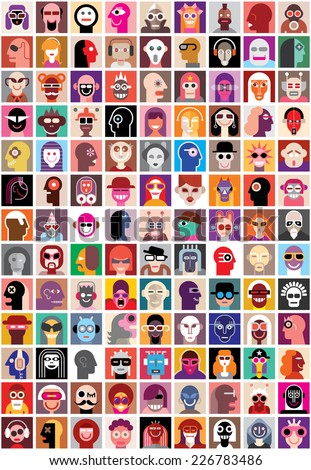 People faces vector set. Collage of closeup portraits. Seamless wallpaper. - stock vector