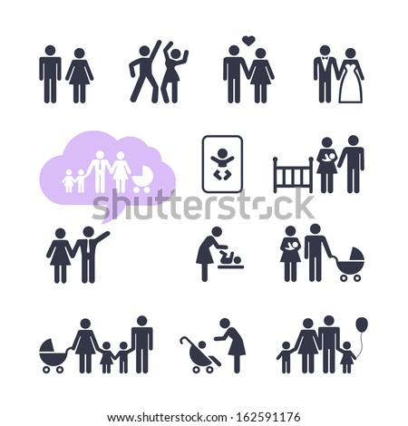 People Family Pictogram. Web icon set. - stock vector