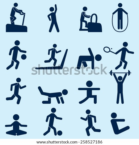 People Fitness Icons - stock vector