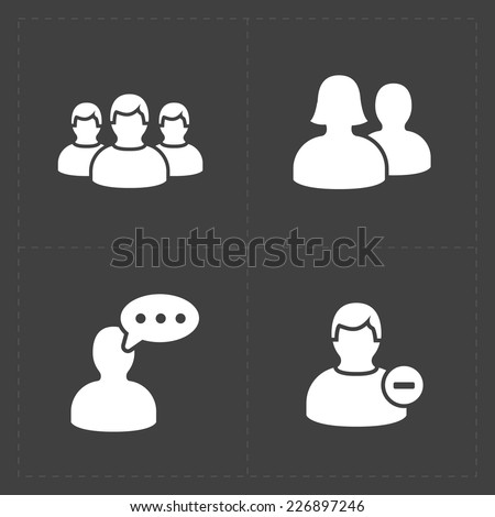 People flat icons set on Black. - stock vector