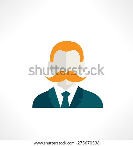 People flat style icon Man with Mustache - stock vector