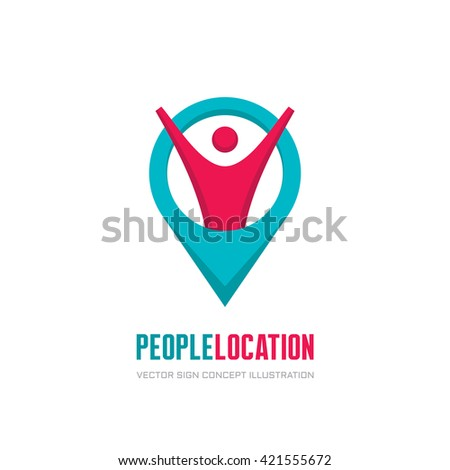 People geo location - vector logo concept illustration. Abstract human character icon. Travel sign.  - stock vector