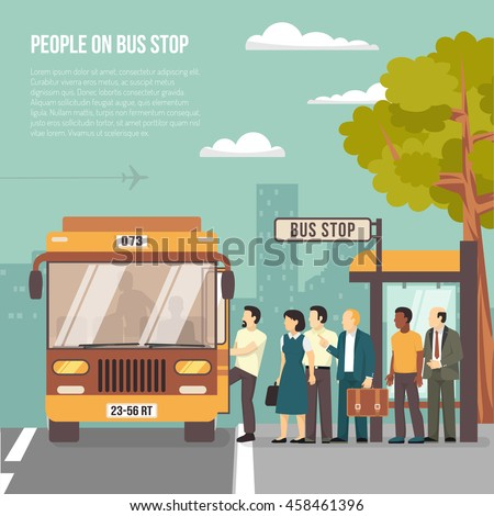 People getting on bus at shelter stop in city flat poster with information on transportation vector illustration