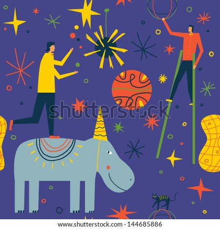 People give magical circus performance. Seamless vector background - stock vector