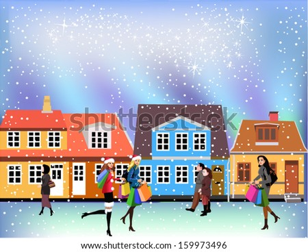 people going shopping - stock vector