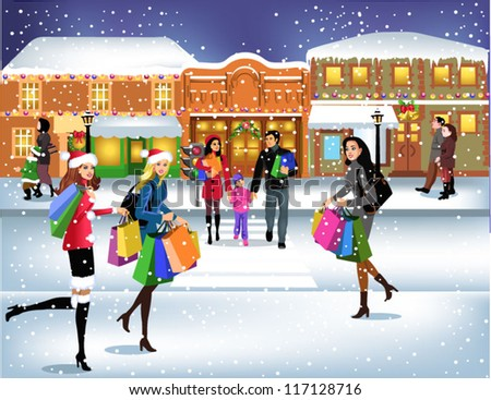 people going shopping downtown - stock vector
