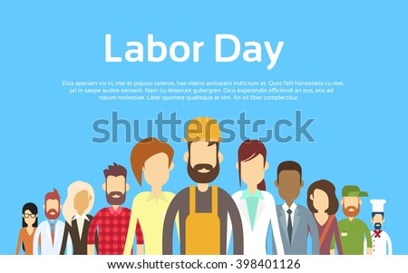 People Group Different Occupation Set, International Labor Day Flat Vector Illustration - stock vector