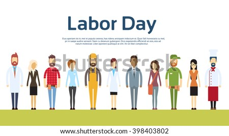 People Group Different Occupation Set, International 1 May Labor Day Flat Vector Illustration - stock vector