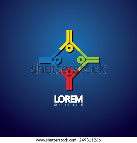 people group in circle vector icon - concept of unity, engagement. This also represents team meeting, holding hands, team work & support, people community, leadership, mentoring - stock vector