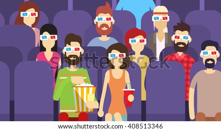 People Group Sit Watching Movie In Cinema 3d Glasses With Popcorn Flat Vector Illustration - stock vector