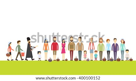 People Group Stand In Line Priest Blessing Easter Basket Consecrate Cakes Eggs Happy Holiday Banner Flat Vector Illustration