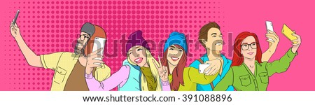 People Group Students Taking Selfie Photo On Smart Phone Pop Art Colorful Retro Style Vector Illustration