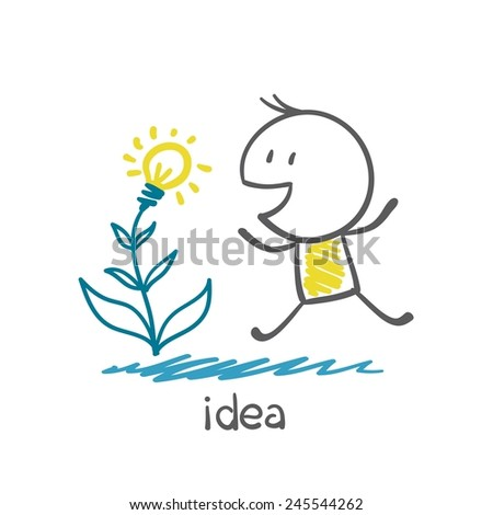 people grow plants in the form of ideas light bulb illustration - stock vector