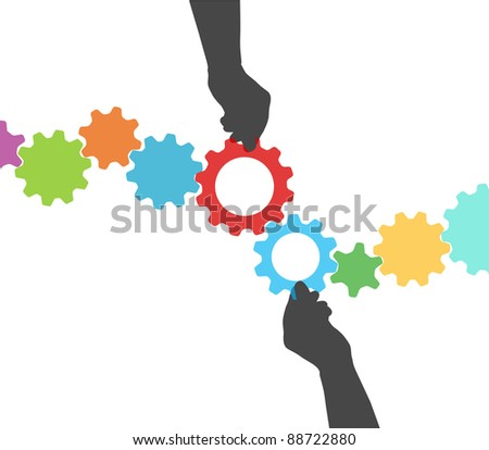 People hands hold colorful gears to mesh two lines of tech project management - stock vector
