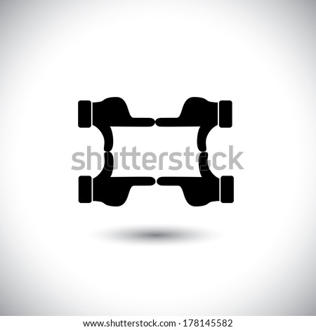 people hands together forming shape - teamwork vector concept. This graphic icon also represents framing a photo or video, film making, director's vision, motion picture making, team & community unity - stock vector