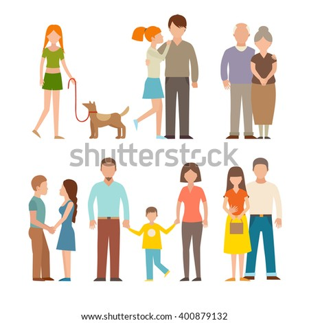 People happy couple cartoon and relationship people lifestyle couple cartoon vector. People couple relaxed cartoon vector illustration set. People couple vector. People couple isolated. People couples - stock vector