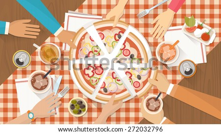 People having dinner together and sharing a huge pizza with drinks, hands top view - stock vector