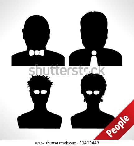 people head silhouettes - stock vector