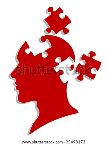 People head with puzzles elements for psychology or medical concept design - stock vector