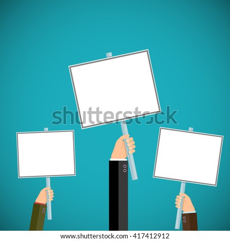 People hold signs in their hands. Pickets and demonstrations. Stock vector illustration. - stock vector
