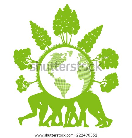 People holding ecology planet with forest around it vector background concept