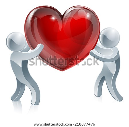 People holding giant heart concept illustration. Two silver people holding a big heart or one passing it to the other - stock vector