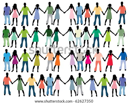 People holding hands - stock vector