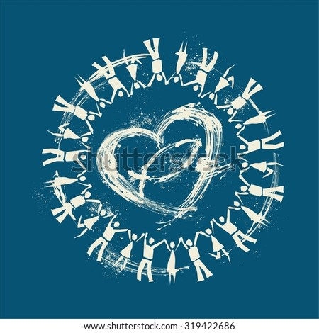 People holding hands around a heart and Jesus fish - stock vector