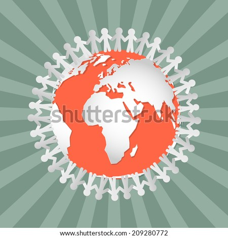 People Holding Hands Around Globe - Vector - stock vector