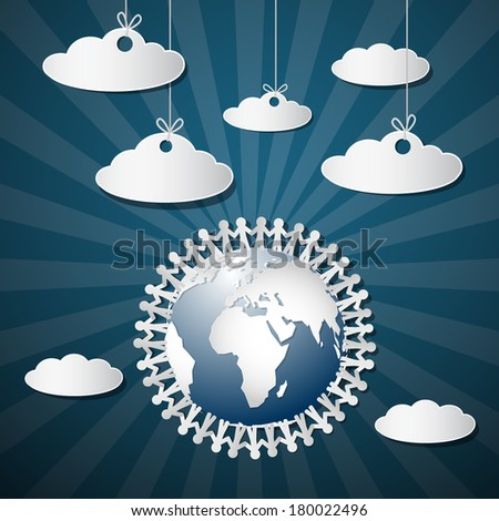 People Holding Hands Around Globe with Paper Clouds - stock vector