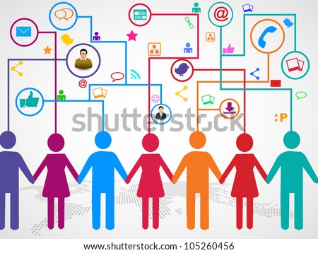 People holding hands under  social media communication icons with arrows on world map background. EPS 10. - stock vector