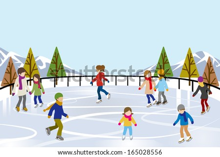 People Ice Skating in nature Ice Rink - stock vector