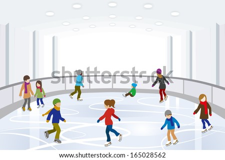 People Ice Skating on indoor Ice Rink  - stock vector