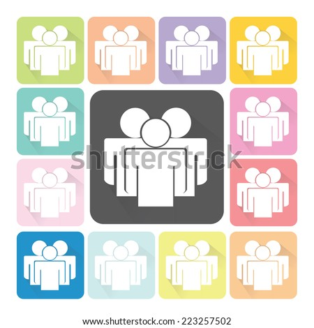 People Icon color set vector illustration. - stock vector