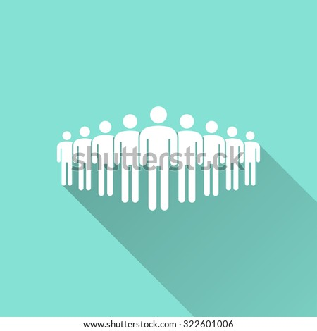 People  icon on green background. Vector illustration. - stock vector