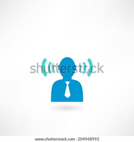 people icon with radio waves - stock vector