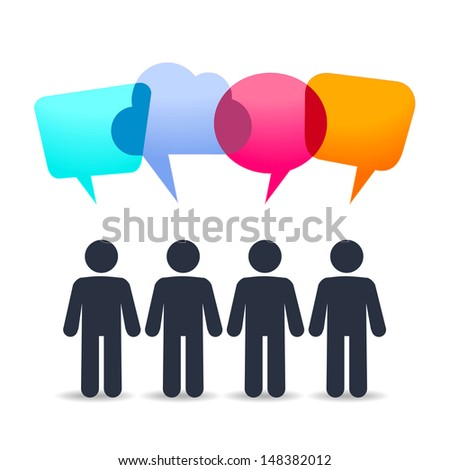 People icon with speech clouds - stock vector
