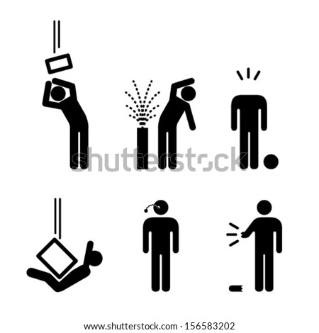 People icons: a variety of workplace accidents. Falling objects, crushed, spatter, spray, eye, limb and head injuries. - stock vector