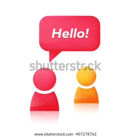 People icons and dialog speech bubble with text Hello. Chat room icon design concept. Abstract woman glossy 3D icon starts dialog with friend. Vector illustration - stock vector