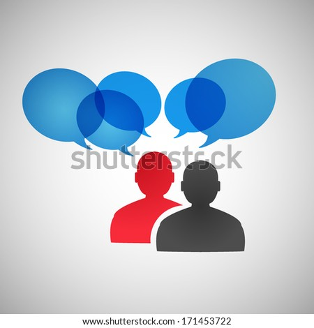 People icons and speech bubbles - stock vector