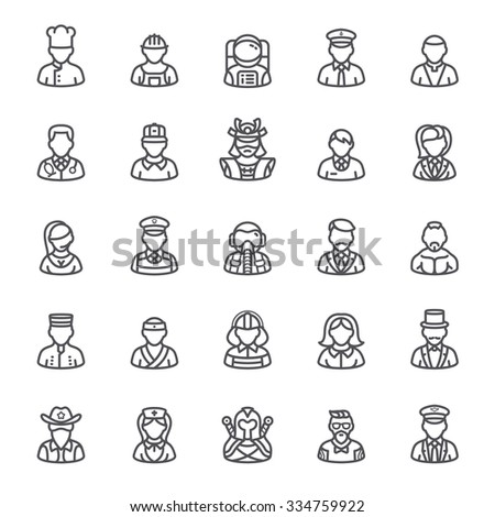People Icons and User, profession icons set. - stock vector