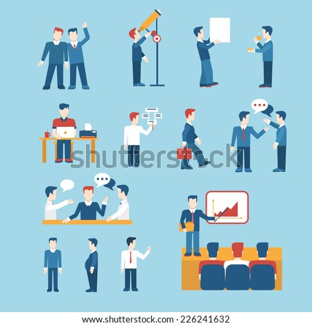 People icons business man situations web template vector icon set. Man woman male female businessman lifestyle icons. Flat human icon set collection. - stock vector