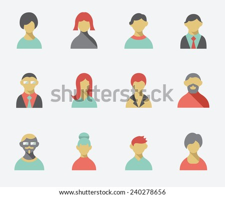 People icons, flat design - stock vector
