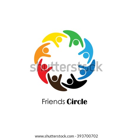 people icons in circle - vector concept engagement, togetherness. this also represents social media community, leader & leadership, unity, friendship, play group, employees & meeting - stock vector
