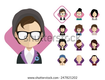 people icons in flat style with faces. Vector women, men character  - stock vector