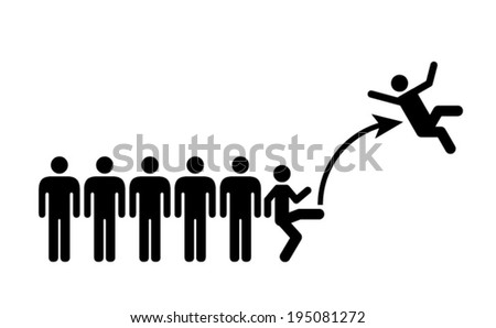 People icons: kicked out of a group/team/department. - stock vector