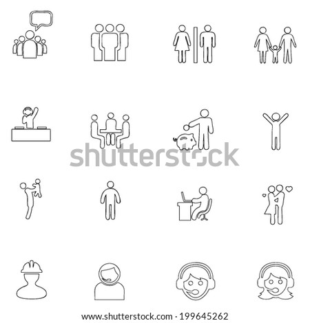 People icons line  drawing by hand Set 6 - stock vector