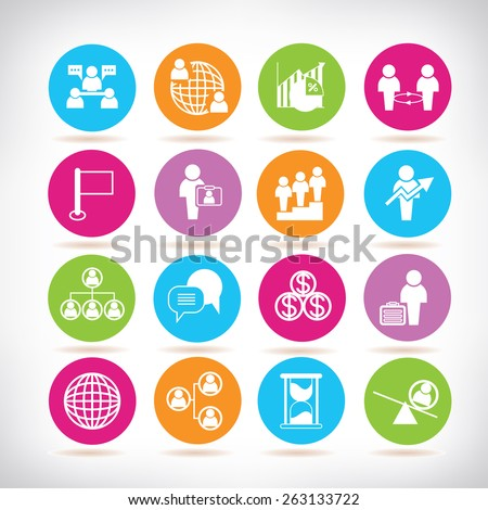 people icons, management concept icons set - stock vector
