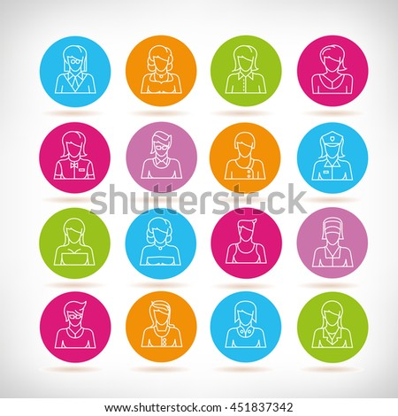 people icons, outline design