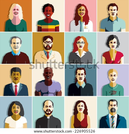 People icons. People characters flat set. - stock vector